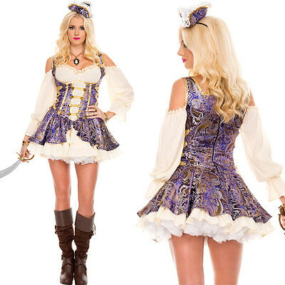Adult Medieval Wench Costume Halloween Pirate Brocade Mini Dress & Hat Set S-XL