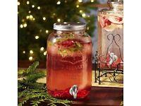 8L Glass Jumbo Jar With Tap For Drinks Cocktails Juices Beverages Wine Dispenser