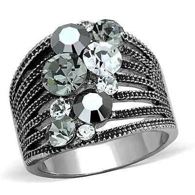 Clear Crystal Cocktail Ring - Black Grey  Clear Crystal Wide Band Stainless Steel Cocktail Cluster Ring