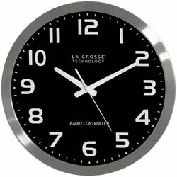 La Crosse 16 Stainless Steel Atomic Wall Clock - Silver