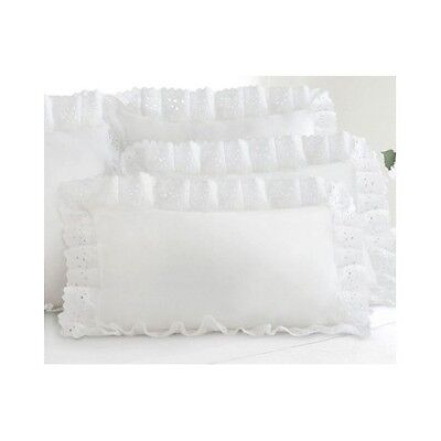 King Size Polyester Pillow Sham (King Size Pillow Shams White Eyelet Ruffled Gathered Victorian Romantic Set 2 )