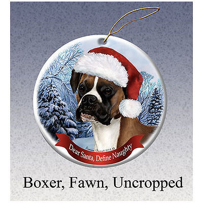 Boxer Fawn Uncropped Howliday Porcelain China Dog Christmas Ornament