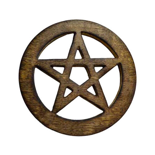 "Wood Carved Pentagram Pentacle Star Cut Out Altar Tile Coaster 4"" Wicca Pagan"