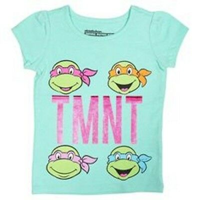 Girls Nickelodeon Teenage Mutant Ninja Turtles TMNT Turquoise Shirt 12M 2T 3T 4T