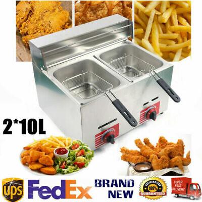 20l Commercial Countertop Gas Fryer Double Baskets Gas Propane Deep Fryer Usa
