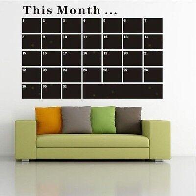 Chalk Board Blackboard Calendar Vinyl Wall Decal Sticker One Week   One Month