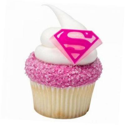 SUPERGIRL SUPERMAN SHIELD CUPCAKE RINGS CAKE DECORATIONS PARTY FAVORS 24 PC - Supergirl Decorations
