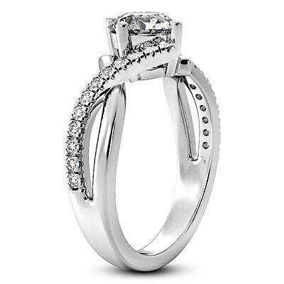 1 CT Diamond Engagement Ring Round Cut 14K White Gold Enhanced