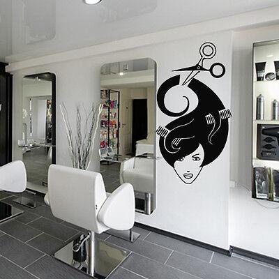 Wall Decal Mirror Hair Salon Beauty Hairdryer Scissors Laying Haircut M1166 for sale  Virginia Beach