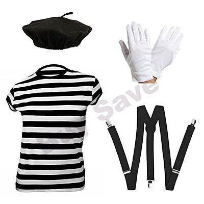 CHILDRENS BOYS GIRLS FRENCH MIME ARTIST ARTISTE FANCY DRESS COSTUME - Child Mime Costume
