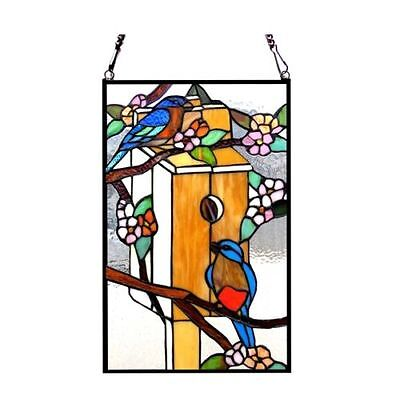 "Floral Bird House & Birds Tiffany Style Stained Glass 12"" x 19"" Window Panel"