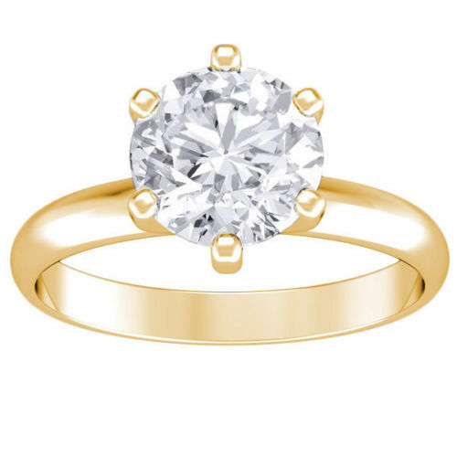 1.50 Ct Round Cut Solitaire Diamond Engagement Ring 14k Yellow Gold H Color Vs2
