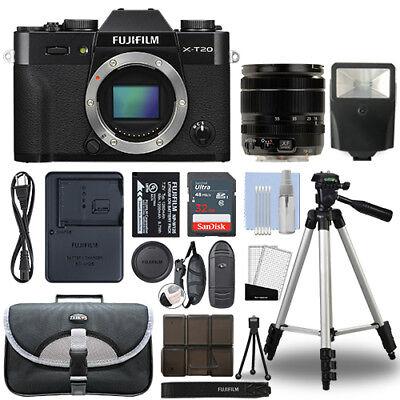 Fujifilm X-T20 4K Mirrorless Digital Camera & 18-55mm Lens Black + 32GB Bundle