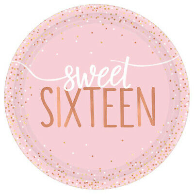 SWEET 16 BLUSH SMALL PAPER PLATES (8) ~ Birthday Party Supplies Cake Dessert - Paper Dessert Plates