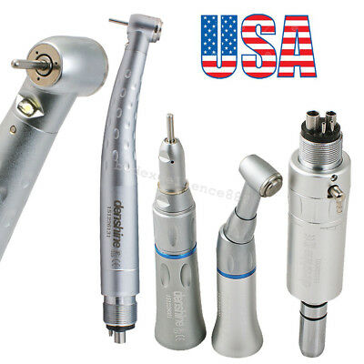 Dental High Low Speed Led Handpiece Kit E-generator Push Fiber 3w 4 Hole Fit Nsk