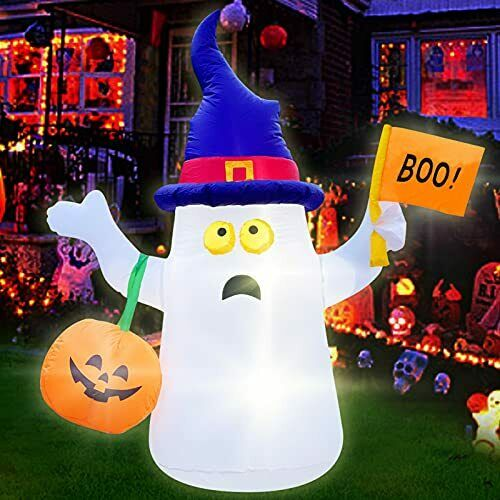 5FT Halloween Inflatable Decorations Outdoor Ghost with Pumpkin Lantern Witch