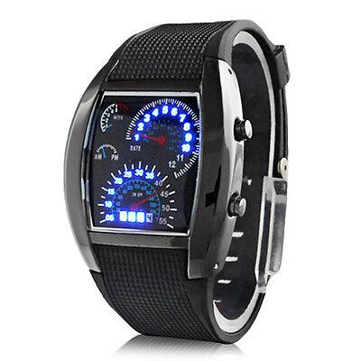 Men's Fashion Black Stainless Steel Luxury Sport Analog Quartz LED Wrist Watch