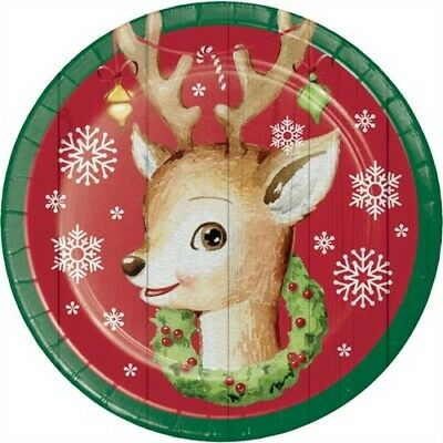 Nostalgic Santa 7 Inch Paper Plates 8 Pack Christmas Winter Party