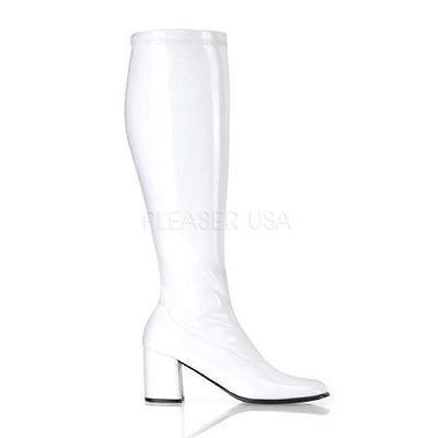 Wide Calf Go Go Boots (White Wide Calf Drag Crossdresser Tranny Costume Go Go Knee Boots size 12 13)