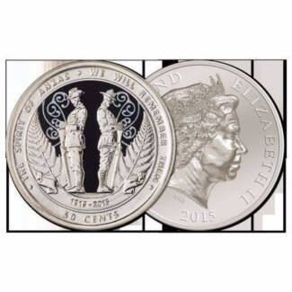 New Zealand 2015 ANZAC Round 50 Cent Coin in a Plastic Capsule