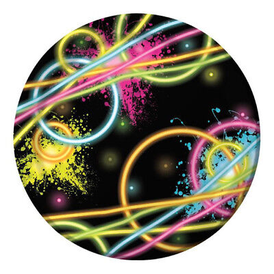 HAPPY BIRTHDAY Glow Party SMALL PAPER PLATES (8) ~ Supplies Cake Dessert Neon