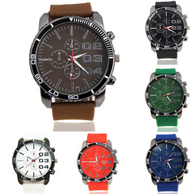 Men Stainless Steel Dial Silicone Rubber Band Sport Analog Quartz Wrist Watch A