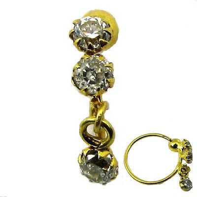 14k Gold Ball Closure Ring (Nose Ring hoop Real Gold 14k Yellow Gold piercing nose ring ball closure)