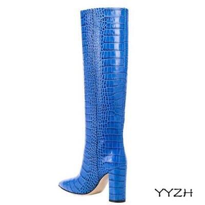 Occident Women Alligator Print Block High Heel Knee High Riding Knight Boots Hot