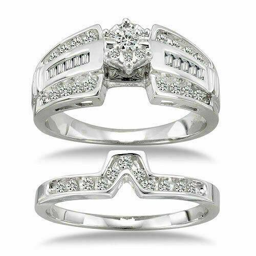 Genuine 1/2 Carat Diamond 14kt White Gold Wedding Ring Band Bridal Set Size 7