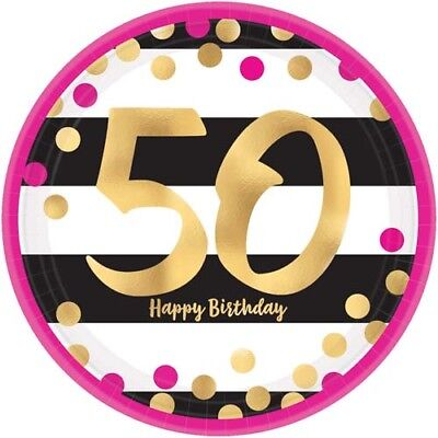 HOT PINK AND GOLD 50th BIRTHDAY LARGE PAPER PLATES (8) ~ Party Supplies Dinner - Pink And Gold Birthday Party Supplies
