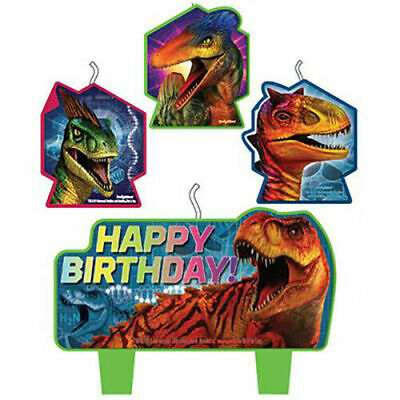Jurassic World Candles Kids DINOSAUR Birthday Party Supplies ~ 4pc Cake Toppers