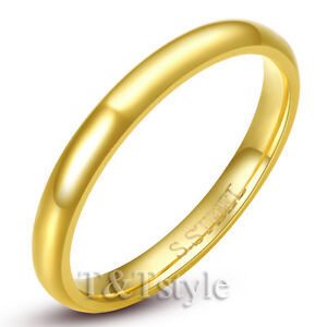 TTstyle 14K Gold Plated Stainless Steel Comfort fit Wedding Band Ring Size 5-15
