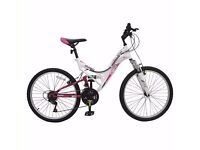 Avigo Rose Dual Suspension Bike Suitable for 10-13 year old Girls Like New ..UNWANTED XMAS GIFT
