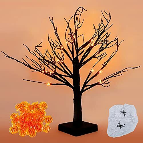18 Inch Lighted Black Birch Tree with 24s, Halloween Lighted Tree, Led Pumpkin