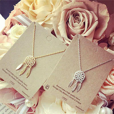 Fashion Women Dream-catcher Pendant Necklace Gold Chain Feather Choker - Dreamcatcher Jewelry