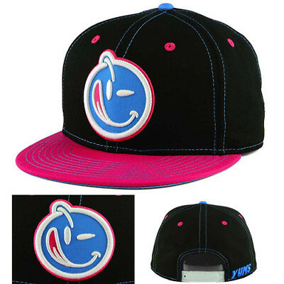 Yums Schwarz Outline Snapback Mütze Magenta Blau South Beach Verstellbar Urban Line-snap