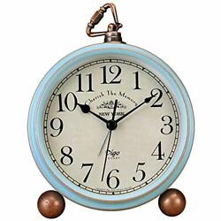 Blue Retro Vintage Non-Ticking Desk Alarm Clock Battery Operated for Bedroom
