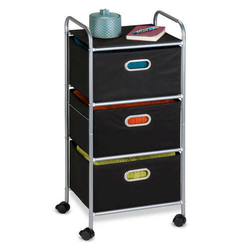 Honey Can Do Portable Rolling Cart 3 Fabric Drawer Storage Organizer ~ Black