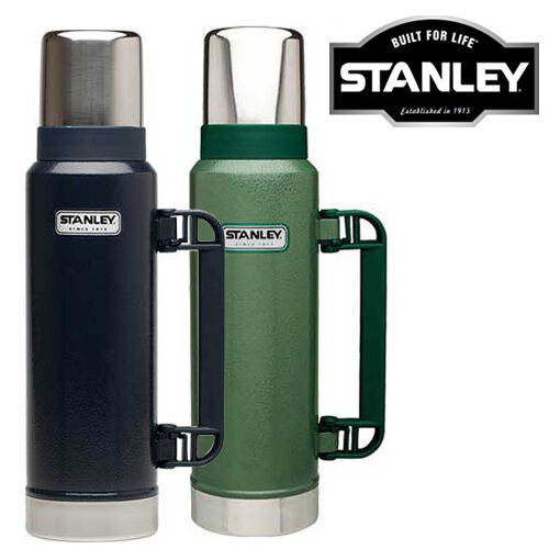 STANLEY CLASSIC DRINKS FLASK 1 LITRE STAINLESS STEEL BLACK NAVY GREEN 1L THERMOS