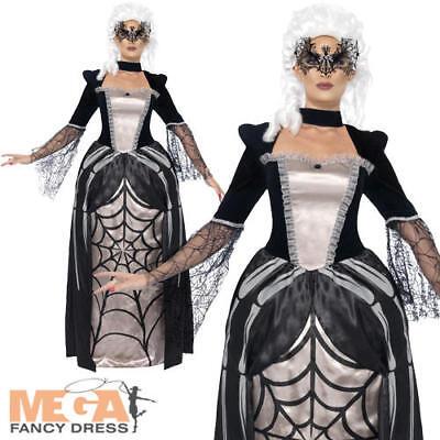 Black Widow Baroness Ladies Fancy Dress Halloween Web Vampire Womens Costume (Baroness Halloween Kostüme)