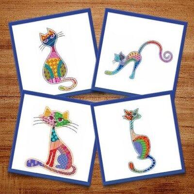 Patchwork Cats - 6 Machine Embroidery Designs, Kitten, Pet, Animal Pattern - Kitten Embroidery Design