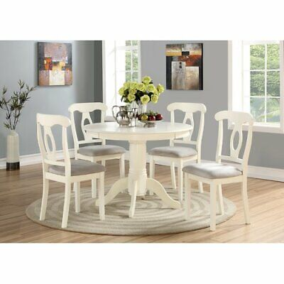 5-Piece Dining Set Round Table Cushioned Seat Traditional-Style Home Eating Area