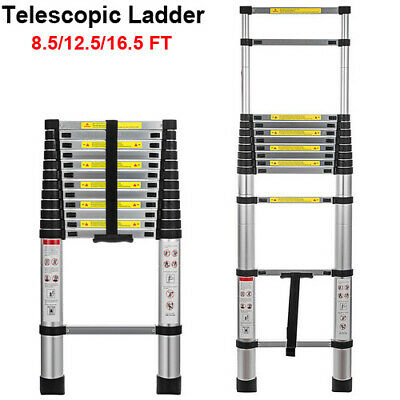 A 8.512.516.5ft Telescoping Extension Ladder Aluminum Folding Step Load 330lbs