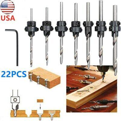 22pcs Tapered Drill Countersink Bit Screw Set Wood Pilot Hole Woodworking Set