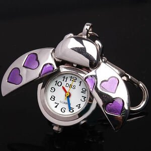 Silver-Beetle-Purple-Heart-Key-Ring-Womens-Mens-Pocket-Watches-Quartz-Accessory