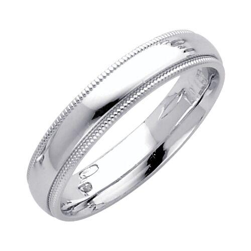 Solid 14K White Gold Wedding Band 4mm Milgrain Comfort Fit Size 8 1//4 3//4