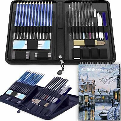 Sketch Pencils Set with Sketchbook 41-Piece Professional Drawing Set and a 50...