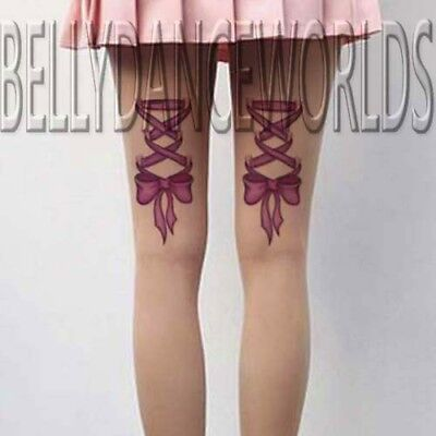 SEXY PINK RIBBON BOW CORSET LACE 3D TEMPORARY TATTOO ARM LEG RIP THIGH STICKER - Pink Ribbon Tattoo