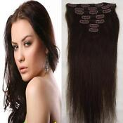 Clip in Human Hair Extensions Dark Brown
