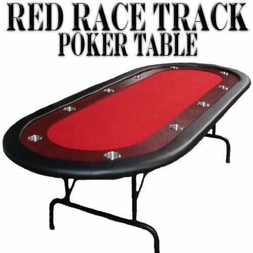 10-Player Casino Poker Game Table with Red Felt, Stainless Steel Cup Holders, &